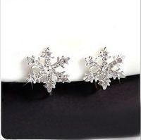 Frozen Earrings Alloy Clip-on Snowflake Pendant Ear Cuff Clip Rhinestone Cosplay Accessory