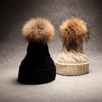 ahone 2014 ladies fur hats for women winter hats Chapeau de tricotage Knitted hat Round ball genuine fur hats