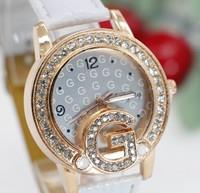 New Fashion Women Casual Elegant Rhinestone Watches Ladies Leather Dress Wristwatch Free Shipping 1pcs/lot