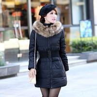 2014 Winter Women Thicken Coat Medium Long Large Fur Collar Down Cotton Jacket Coat Female Outerwear Plus L-3XL With Belt