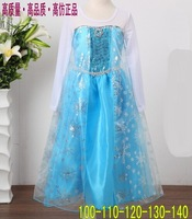 2014 Fashion Summer Baby Girl Child Kids Party Long Sleeve  Diamond Snow Formal Prom Cosplay Dance Frozen Elsa Dress H0140757