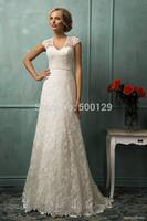 Vintage V Neck Short Sleeve Beaded A-Line Long Formal Lace Custom Made casamento Bride Wedding Dress 2014