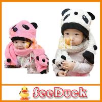 Warm Children Wool Panda Cartoon Hat with Scarf(1Set =1 Cap+ 1 Scarf) EG1004