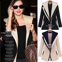 European And American Fan Autumn Full Coat Women 2014 New Zipper Slim Woman two hooded jackets Free shiping KIKEY E1475