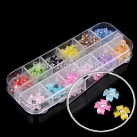Wholesale 60PCS Pro Fashion Acrylic Nail Art Decorations Tips 3D Rhinestone Glitter Flower Tools DIY