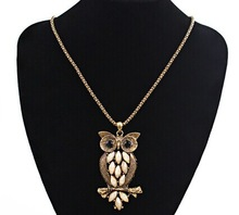 Opal cameo owl pendant long necklace women/kpop collares vintage womens jewellery/kolye/necklaces female/colar feminino/nacklace