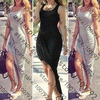 New Sexy Asymmetrical Draped Backless Dress Celebrity Summer Fashion 2014 Low Back Slit Bandage Bodycon Maxi Long Dress