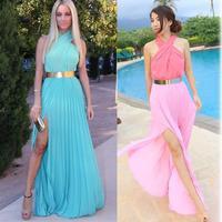 2014 NEW ARRVIAL HOT Fashion Blue Criss Cross Chiffon Maxi Dress Side Split Long Beach Dress Desigual Halter