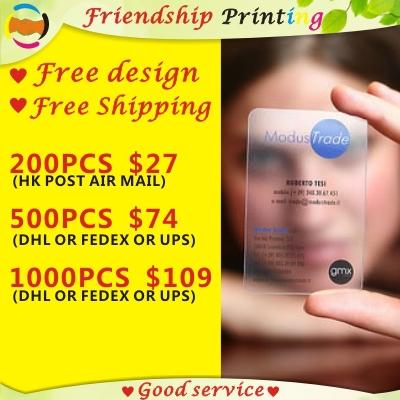 Custom business card printing/ plastic transparent pvc card print/waterproof/ name/visiting card Free Shipping(China (Mainland))