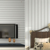 Grey white wide stripe wallpaper modern PVC vinyl home decor for wallcovering tv bedroom living room background decor