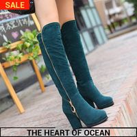 2014 Fashion Korean Style PU Leather Women Boots Zipper Sequined High Leg Boots Winter Long Shose S033