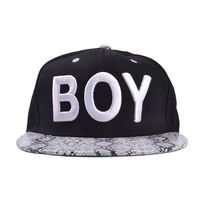 YJC-167 Korean version of the new BOY snakeskin pattern letters brimmed baseball cap hip-hop cap wholesale spring Xiaqiu Ping