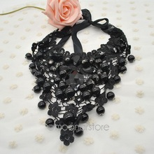 Fashion Lace Ribbon Gem Stone Round Beads Ball Pendant Necklace, Bohemia Choker Necklaces Chain, Women Jewelry Y52*MHM191#M5