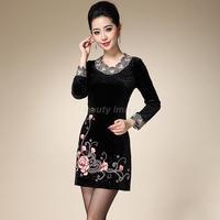 Plus Size 4XL,5XL,6XL Hitz Long-Sleeve Velour Embroidered Evening Dress Vestidos De Fiesta 2014