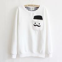 2014 harajuku version of the new fall and winter clothes harajuku women's round neck fleece sweatshirt sweaters fashion