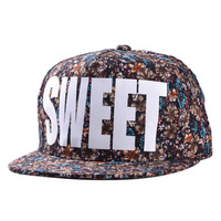 fabric printing new Korean men and women fashion SWEET flat -brimmed hats hip-hop cap outdoor shade