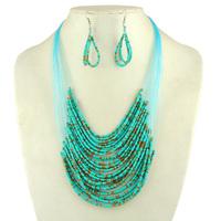 Summer Sale Handmade Bohemia Jewelry Set Beads Multilayer Bib Choker Necklaces Collarbone Chain Statement Pendants Drop Earrings