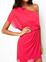 2014 Summer New Women Rose Pink Chiffon Draped Waist One Shoulder Dress Plus Size S M L XL Free Shipping