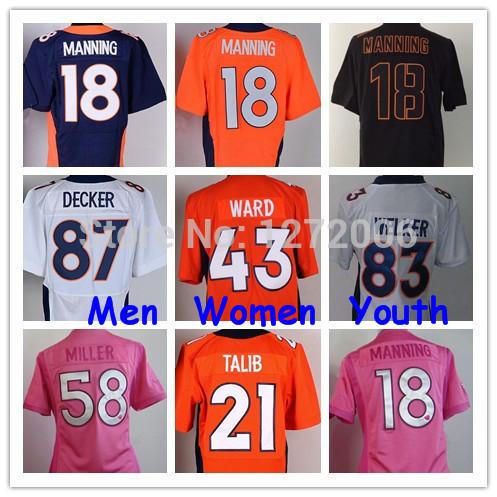 Best American Football Jerseys Men Women Youth All Players 18 Peyton Manning 58 Von Miller 87 Eric Decker 83 Wes Welker Cheap(China (Mainland))