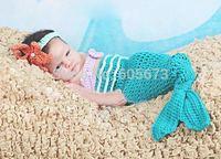 3PCS Set Newborn Infant Crochet Knit Beanie Animal Little mermaid crochet headband crochet pants chestband Photography Props Hat