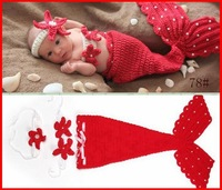 2015 New Newborn Baby Crochet Knit Costume Photography Prop Outfit Red Mermaid Free Shipping Infant Girl Boy Soft Costume Melee