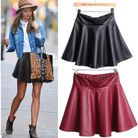 Europe New Arrival Faux Leather PU Skirts Women Ball Gown Fashion Short Casual Mini Pleated Skirt Streetwear 3 colors 2098