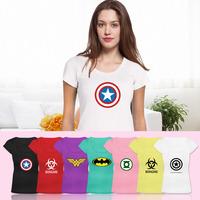 Hot Sale Women Green Lantern Captain American Biohazard Resident Evil T-shirt Fashion Print T Shirt Fitness Scoop-Neck Tshirt