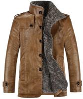 Winter Jacket Men PU Leather Jackets Man Stand Collar Medium length Thicken Lining Solid Zipper Slim Outerwear Plus size XXXL