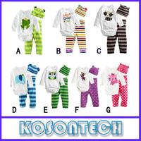 Baby rompers long sleeve cotton baby infant cartoon Animal newborn baby romper+hat+pants 3pcs clothing set KS1011