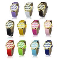 2014 New Superb Fashion Moire Watch PU Leather Woman Man Quartz Wrist Watches  Free Shipping&Wholesale Alipower