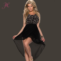 Summer 2014 Victoria  Evening Vestidos Leopard Bodice High Low Skirt Sexy Evening Dress LC6540
