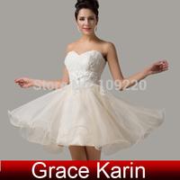Free Shipping Grace Karin Sweetheart Organza+Lace Ball Mini Cocktail Tutu Dancing vestidos Short  Homecoming Dresses AL08 CL6134