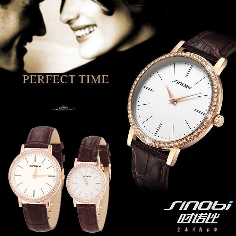 2014 New Original SINOBI Watches Men Luxury Brand Couple's Watch Waterproof Women Dress Watches with Rhinestone(China (Mainland))