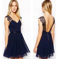 New 2014 European Summer Casual Dress Sexy lace Halter Chiffon Dress Sleeveless Vest Women Dress Free Shipping,S/M/L/XL