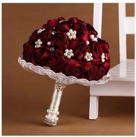 Weeding accessories bride bouquet diamond  flowers on hand  weeding jubilant hand flower accessories for bride best gift