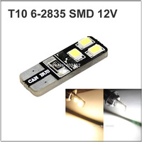 10pcs T10 Car Width Lamp 147 Side Marker 152 License Plate 12v Dc Canbus 6 Smd 2835 Led Lamp White