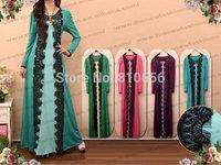 MU10017  Free Shipping  2014 New Top Sales Woman Fashion Long Sleeve Muslim Abaya Dresses With Lace
