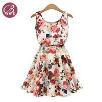 Hot Dress 2014 European Style Dress Women Floral Sleeveless Vest Elastic Chiffon Dress