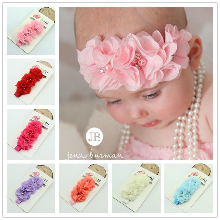 1 pieces fashion baby headband chiffon pearl diamond flower with a shimmer Headbands Baby Flower Headbands hair accessories(China (Mainland))