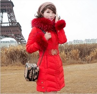 Free shipping 2014 new duck down coat thick lace casual long big Raccoon fur collar black winter jacket women size S-XXL DC13