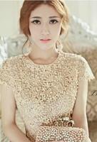 Handmade Beading Cutout Embroidery 2014 Summer Lace Dress A-Line O-Neck Short Sleeve Knee-Length Beige Women's Fashion New NL530