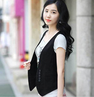 2014 Women's Wardrobe, waistcoat wholesale Women Slim cotton vest women,fake pocket,button,free shipping,#14040206