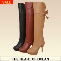 Free Shipping Women PU High Leg Boots Bowtie Over Knee Boots Long Boots Feminine Winter Thin Heel Platform Shose S066