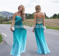 2014 Cheap New Design Sweetheart Beaded Criss-Cross Back Gradient Evening Dress Sexy A-Line Formal Dresses