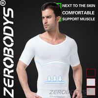 Fast Shipping ZEROBODYS Comfortable Mens Body Shaper Short Sleeve Undershirt 349 WH White Spandex Shapewear Slim Control Fitness