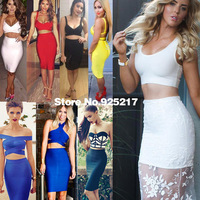 Two piece sexy women party HL bandage dress 2014 new arrival rayon 2 piece celebrity dresses