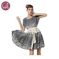 Plus Size Women Summer Dress 2014 Hot dress Europen Style Loose Printing Big Swing Chiffon Dress