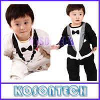 Baby Boy Kid Casual Romper Gentleman Pants long sleeve climb clothes Sets 0-24M Freeshipping KS1025