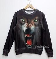Hot New winter Harajuku personality Women/men Hoodies Sportswear Animal Wolf 3d print Sweatshirts clothing Full Fleece Suit coat