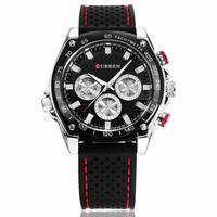 CURREN Brand Strong Rubber Strap 3 Decoration Dials Analog Display Quartz Watches Men Sport Watch